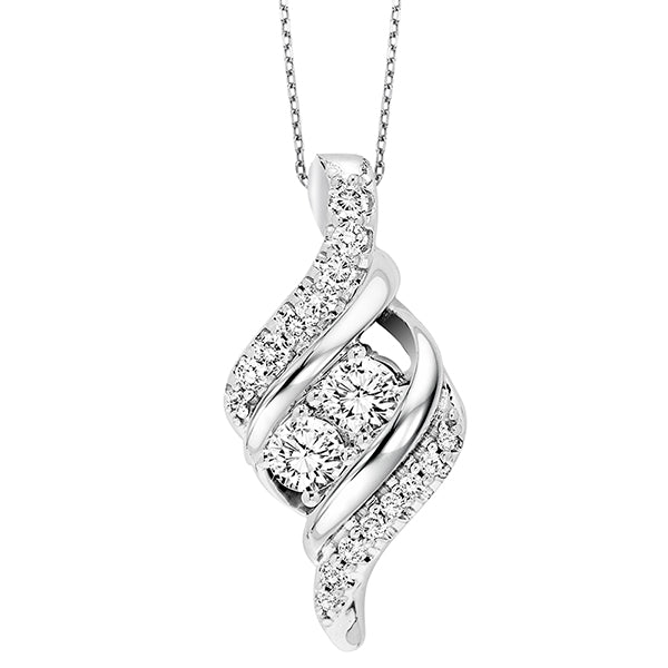 14K Diamond Two Stone Pendant (0.50 CTW)