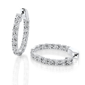 14Kt White Gold Diamond Oval Inside Out Hoop Earrings (1 CTW)