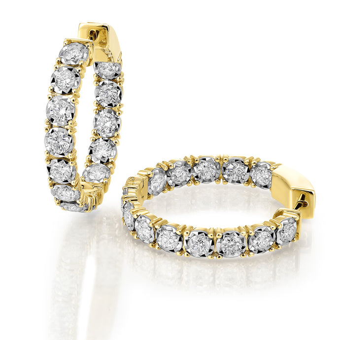 14Kt Yellow Gold Diamond Inside Out Hoop Earrings (1 CTW)
