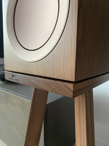 Walnut KEF R3 with Walnut Audio Chic Speaker Stands