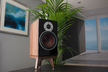 Load image into Gallery viewer, The Compact Snipe Tri-Leg American Black Walnut Speaker stand with speaker spikes & shoes to ensure sound clarity and crispness