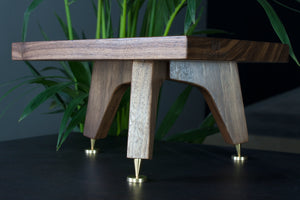 Tri Leg 140mm Tall Walnut standmount speaker stand with speaker spikes and speaker spike shoes for Sound Crispness