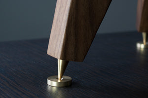 The Crane Tri-Leg Speaker stands with solid brass speaker spikes and shoes for audio enhancement
