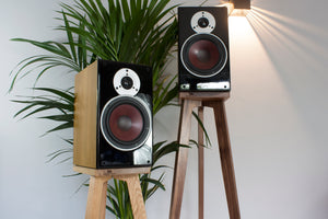 Solid Oak and American Black Walnut Speaker Stands with Dali Bookshelf speakers perfectly seated ontop.
