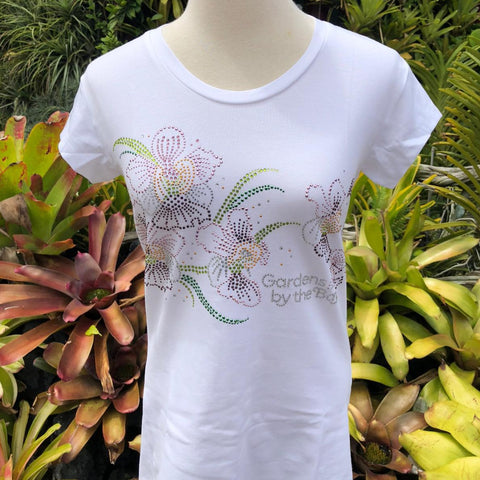 Gardens by the Bay - Merchandise Collection - Ready to Wear - Ladies Rhinestone T-Shirt - Mrtwlrt Blooming Vanda Miss Joaquim Ladies' T-Shirt (White)