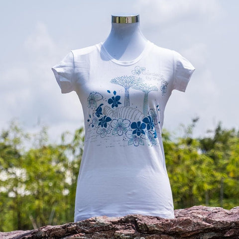 Gardens by the Bay - Ladies' Rhinestone T-Shirt Collection - BLUEGARDENSSCENERYLADIES_T-SHIRT_WHITE