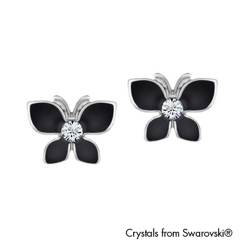 Gardens by the Bay - Costume Jewellery Collection - Butterfly Earrings made with SWAROVSKI® Crystals - Jet Black color