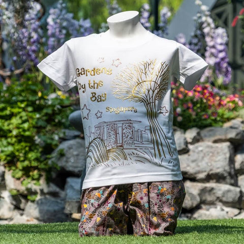 Gardens by the Bay - Family T-Shirt Collection - CITY IN A GARDEN GOLD KIDS T-SHIRT (WHITE)
