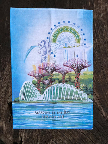 Gardens by the Bay - Merchandise Collection - Home Ware - Household - City in a Garden Scenery Tea Towel