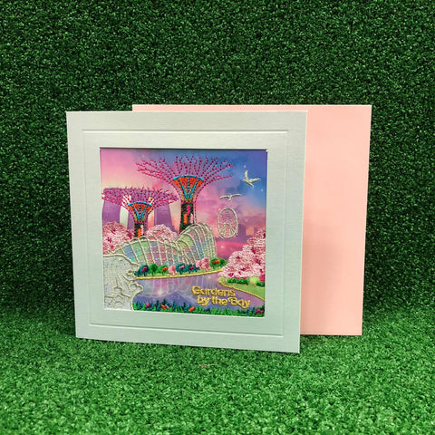 Gardens by the Bay - Merchandise Collection - Stationeries - Greeting Card - City in a Garden w/Sakura Embroidered Greeting Card