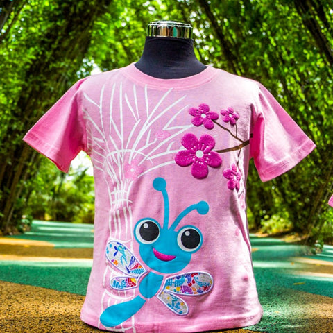 Gardens by the Bay - Kids Collection - DRAGONFLY AND SUPERTREE WITH BATIK PATCHWORK KID'S T-SHIRT (PINK)