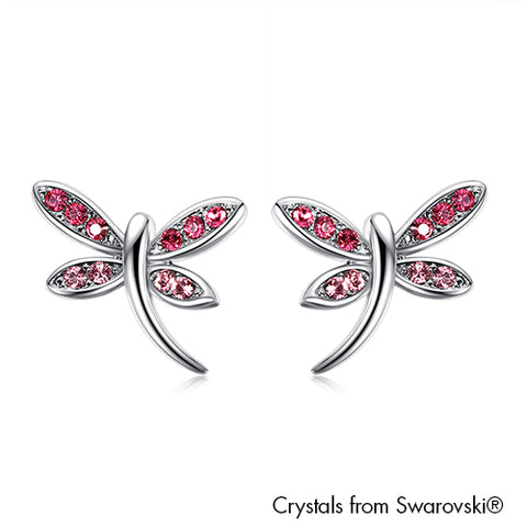 Gardens by the Bay - Costume Jewellery Collection - Dragonfly Earrings made with SWAROVSKI® Crystals - Rose color