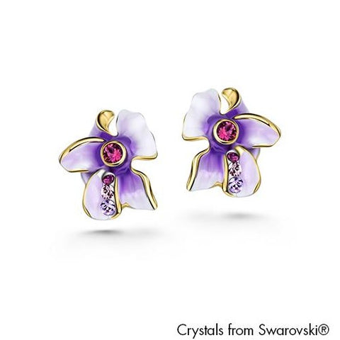 Gardens by the Bay - Costume Jewellery Collection - Floral Earrings made with SWAROVSKI® Crystals - Amethyst color