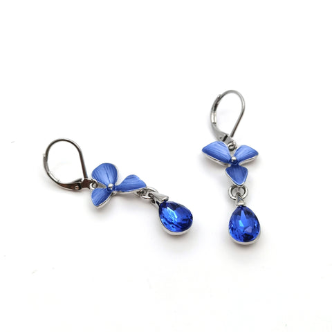Gardens by the Bay - Fashion Costume Jewellery - Elegant Floral Morning Dew Earrings - Blue color