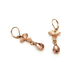 Gardens by the Bay - Fashion Costume Jewellery - Elegant Floral Morning Dew Earrings - Rose Gold color