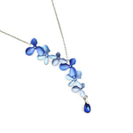 Gardens by the Bay - Fashion Costume Jewellery - Elegant Floral Morning Dew Necklace - Blue color