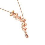Gardens by the Bay - Fashion Costume Jewellery - Elegant Floral Morning Dew Necklace - Rose Gold color