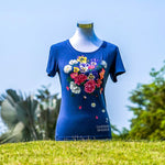 Gardens by the Bay - Ladies' Bamboo T-Shirt Collection - FLORAL BAMBOO LADIES' T-SHIRT (DARK BLUE)