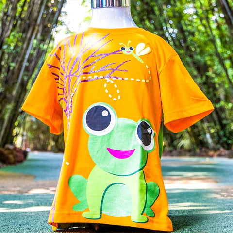 Gardens by the Bay - Kids Collection - FROG AND SUPERTREE KID'S T-SHIRT (ORANGE AND GREEN)