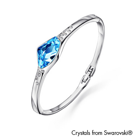 Gardens by the Bay - Costume Jewellery Collection - Fancy Bangle made with SWAROVSKI® Crystals - Aquamarine color