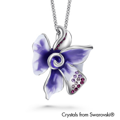 Gardens by the Bay - Costume Jewellery Collection - Floral Necklace made with SWAROVSKI® Crystals - Amethyst color