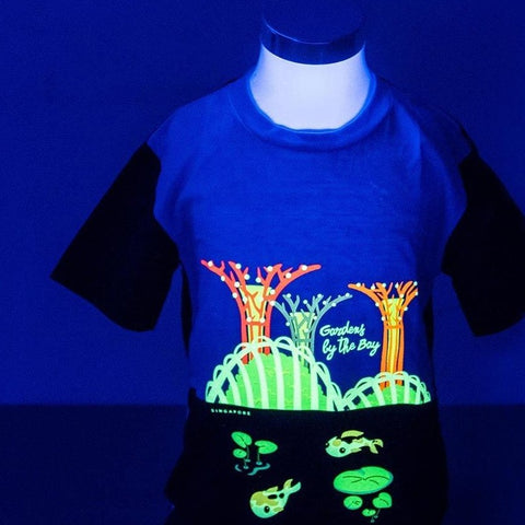 Gardens by the Bay - Glow-in-the-dark T-Shirt Collection - GARDENS BY THE BAY SCENERY WITH KOI GLOW KID'S T-SHIRT (BABY BLUE / NAVY)