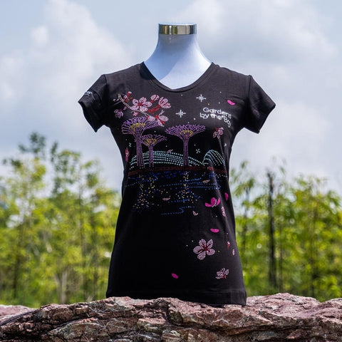 Gardens by the Bay - Ladies' Rhinestone T-Shirt Collection - GARDENSBYTHEBAYWITHSAKURALADIES_T-SHIRT_BLACK