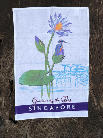 Gardens by the Bay - Merchandise Collection - Home Ware - Household - Gardens by the Bay Dragonfly Lake with Kingfisher Tea Towel