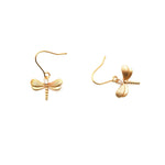 Gardens by the Bay - Fashion Costume Jewellery - Gold Plated Dragonfly Earrings