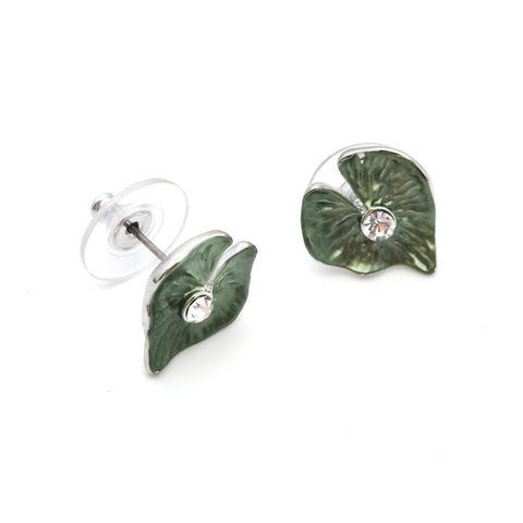 Gardens by the Bay - Fashion Costume Jewellery - Green Heart Shaped Leaf Earrings
