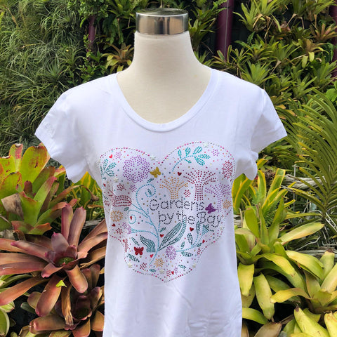 Gardens by the Bay - Merchandise Collection - Ready to Wear - Ladies Rhinestone T-Shirt - Mrtwlrt Floral Heart Shaped Ladies' T-Shirt (White)