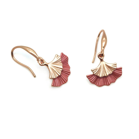 Gardens by the Bay - Fashion Costume Jewellery - Metallic Ginkgo Leaf Earrings
