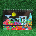 Gardens by the Bay - Merchandise Collection - Stationeries - Sustainable Wood Stationeries - Night View of City in a Garden Skyline with Floral A5 Notebook