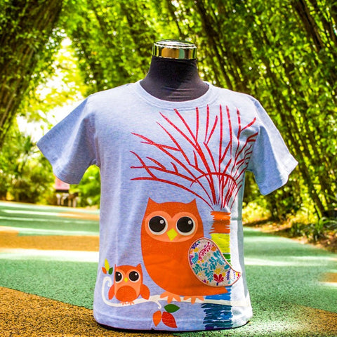 Gardens by the Bay - Kids Collection - Created OWL AND SUPERTREE WITH BRAND PATTERN PATCHWORK KID'S T-SHIRT (MELANGE BLUE)