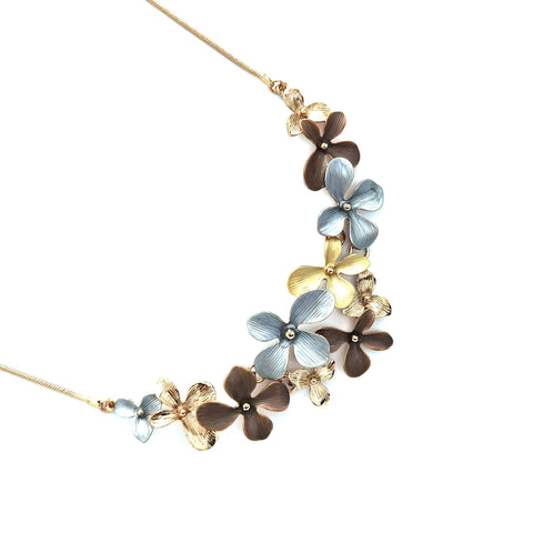 Gardens by the Bay - Fashion Costume Jewellery - Opulence Metallic Floral Necklace