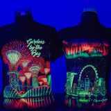 Gardens by the Bay - Glow-in-the-dark T-Shirt Collection - PANORAMA AURORA GLOW MEN'S T-SHIRT (BLACK)