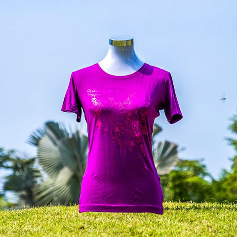 Gardens by the Bay - Ladies' Bamboo T-Shirt Collection - PEONY BAMBOO LADIES' T-SHIRT (DARK PURPLE)