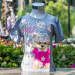 Gardens by the Bay - Gardens by the Bay Bear Collection - PLAYFUL PRISCA SUPERTREE AND SAKURA WITH BRAND PATTERN PATCHWORK KID'S T-SHIRT (LIGHT BLUE)