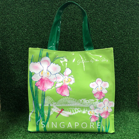 Gardens by the Bay - Merchandise Collection - Bags and Pouches - PVC Tote Bag Gardens Scenery with Vanda Miss Joaquim (Green)