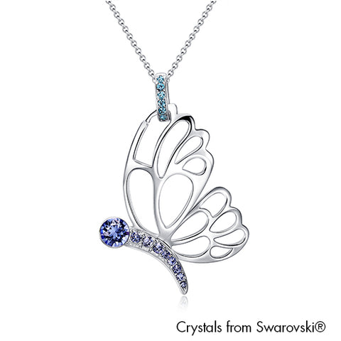 Gardens by the Bay - Costume Jewellery Collection - Papillion Necklace made with SWAROVSKI® Crystals - Aquamarine color