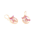 Gardens by the Bay - Fashion Costume Jewellery - Pink Floral Earrings in Oval Shape