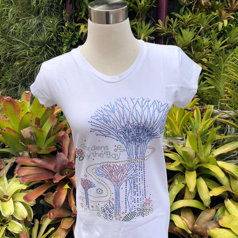 Gardens by the Bay - Merchandise Collection - Ready to Wear - Ladies Rhinestone T-Shirt - Mrtwlrt Supertrees Twirling Ladies' T-Shirt (White)
