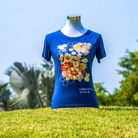 Gardens by the Bay - Ladies' Bamboo T-Shirt Collection - SAKURA AND PEONY BLOSSOM BAMBOO LADIES' T-SHIRT (DARK BLUE)