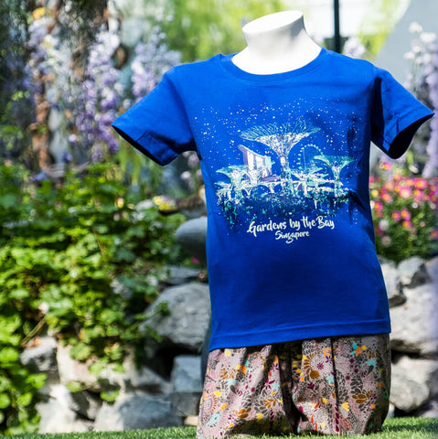 Gardens by the Bay - Family T-Shirt Collection - SUPERTREE GROVE GLOW KIDS T-SHIRT (BLUE)