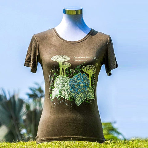 Gardens by the Bay - Ladies' Bamboo T-Shirt Collection - SUPERTREES WITH HYDRANGEA GLOW BAMBOO LADIES' T-SHIRT (ARMY GREEN)