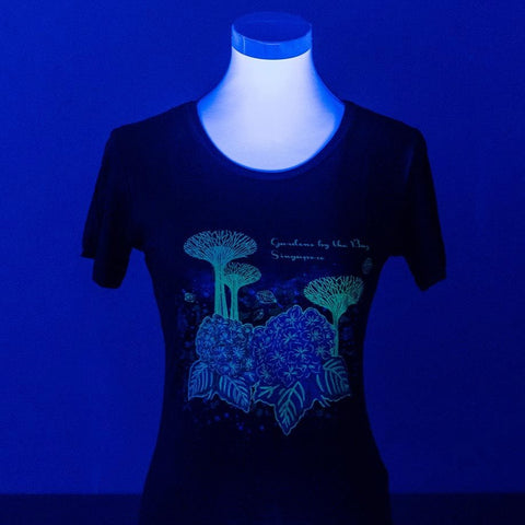 Gardens by the Bay - Glow-in-the-dark T-Shirt Collection - SUPERTREES WITH HYDRANGEA GLOW BAMBOO LADIES' T-SHIRT (ARMY GREEN)