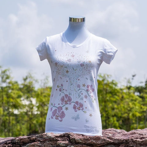 Gardens by the Bay - Ladies' Rhinestone T-Shirt Collection - SUPERTREEWITHPHALAENOPSISLADIES_T-SHIRT_WHITE