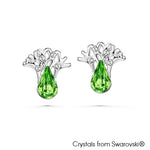 Gardens by the Bay - Costume Jewellery Collection - Supertree Earrings made with SWAROVSKI® Crystals - Fern Green color