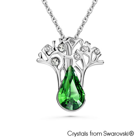 Gardens by the Bay - Costume Jewellery Collection - Supertree Necklace made with SWAROVSKI® Crystals - Fern Green color