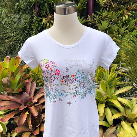 Gardens by the Bay - Merchandise Collection - Ready to Wear - Ladies Rhinestone T-Shirt - Mrtwlrt Supertrees Skyway with Floral and Fauna Ladies' T-Shirt (White)
